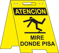 Spanish Watch Your Step Floor Sign