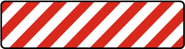 White / Red Striped Floor Sign