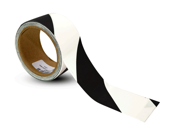 White / Black Striped Floor Tape