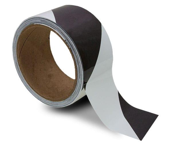 White / Black Striped Floor Tape