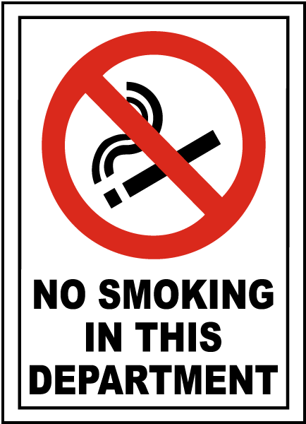 No Smoking In This Department Sign