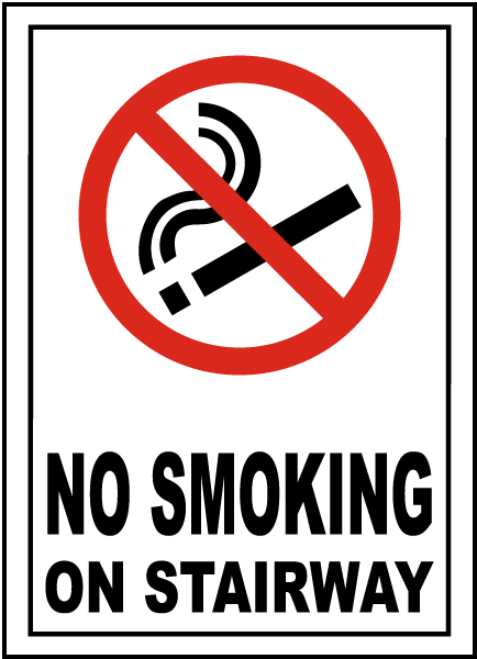No Smoking on Stairway Sign