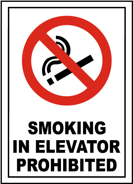 Smoking Prohibited In Elevator Sign
