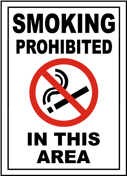 Smoking Prohibited In This Area Sign
