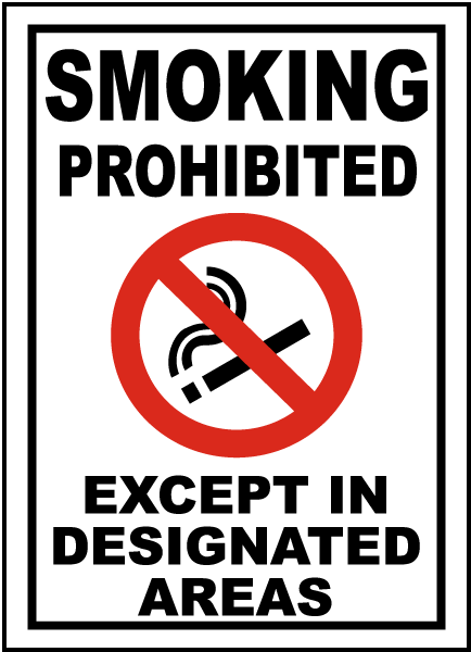 Except In Designated Areas Sign