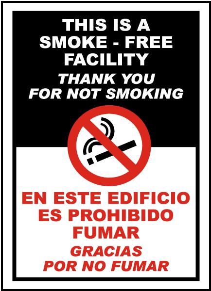 Bilingual Smoke-Free Facility Sign