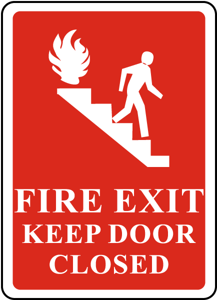 Fire Exit Keep Door Closed Sign R5439 By Safetysign Com