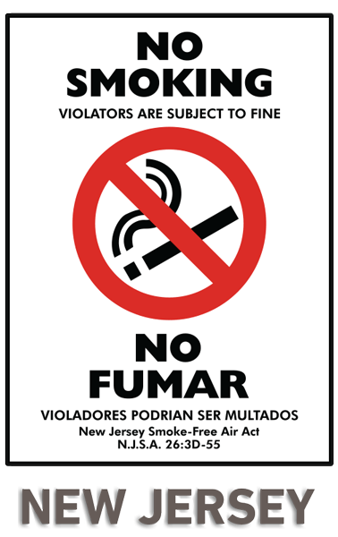Bilingual New Jersey No Smoking Sign