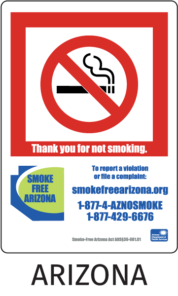Arizona No Smoking Sign