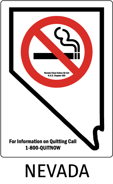 Nevada Nevada Clean Indoor Air Act N.R.S. Chapter 202 For information on Quitting Call 1-800-QUITNOW