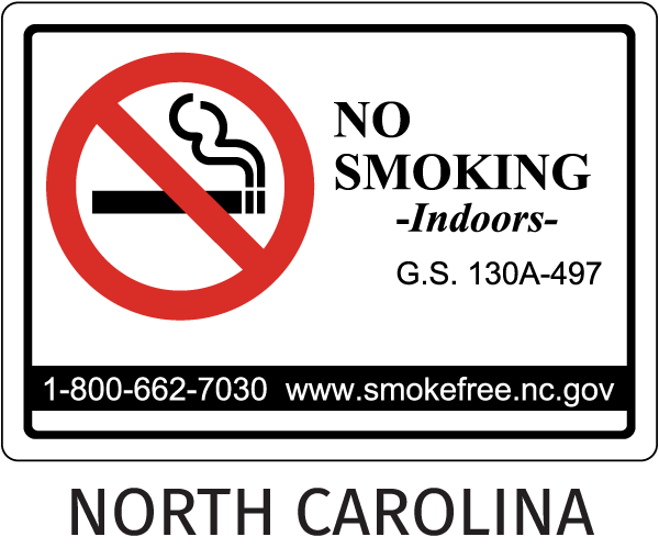 North Carolina No Smoking Sign