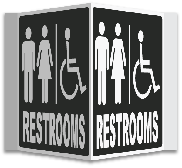 3-Way Accessible Restrooms Sign