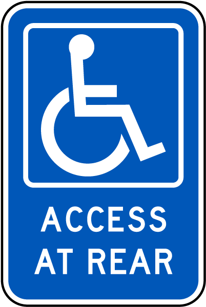 Handicapped Parking Sign-Access At Rear