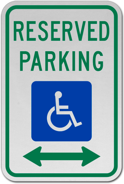 MUTCD Accessible Reserved Parking Sign (Double Arrow)