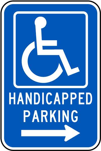 Handicapped Parking Sign (Right Arrow)