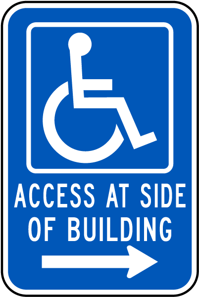 Access At Side of Building (Right Arrow)