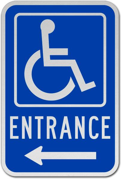Accessible Entrance Sign (Left Arrow)