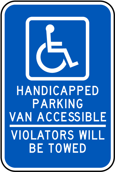 Handicapped Parking Van Accessible Sign