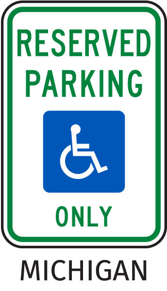 Michigan Handicapped sign-Reserved Parking Only