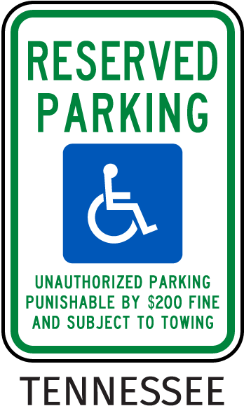 Tennessee Accessible Parking Sign