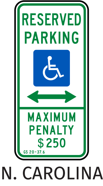 North Carolina Accessible Parking (Double Arrow)
