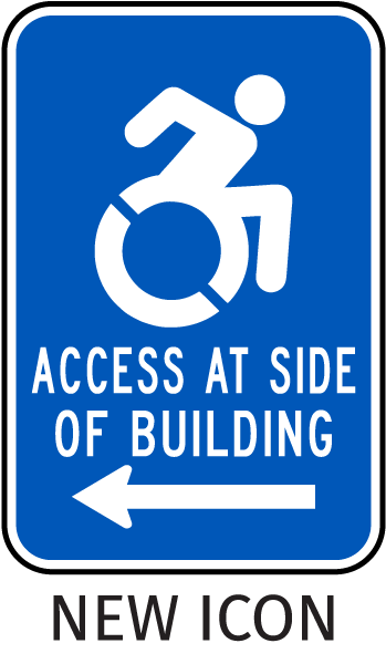 Access At Side of Building (Left Arrow) Sign