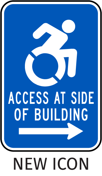 Access At Side of Building (Right Arrow) Sign