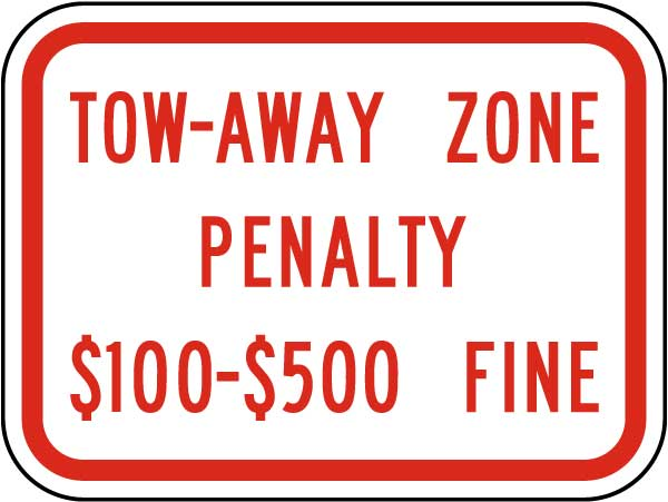 Virginia Tow Away Zone Penalty Sign