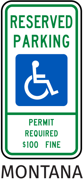 Montana Handicap Parking Sign