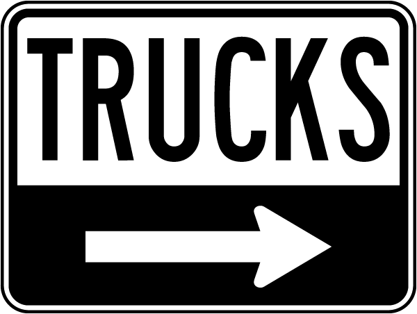 Trucks Sign with right arrow