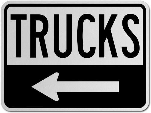 Trucks (Left Arrow) Sign