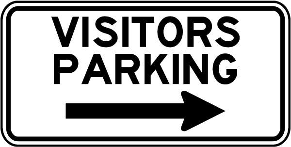 Visitors Parking Sign with right arrow