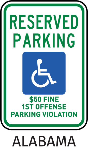 Reserved Parking $50 Fine 1st Offense Parking Violation Sign