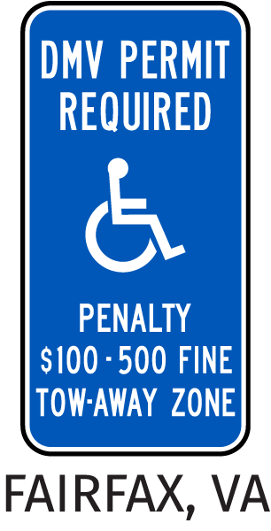 Fairfax County Virginia Accessible Parking Sign