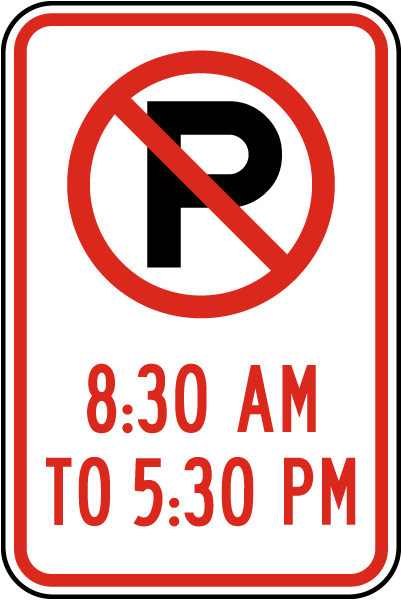 8:30 AM To 5:30 PM Sign with ''P'' symbol
