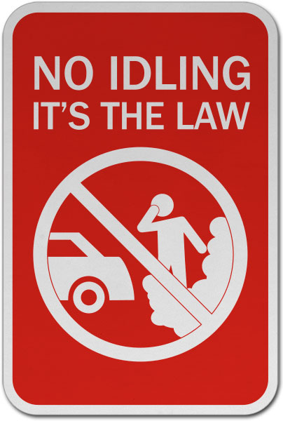 No Idling It's The Law Sign