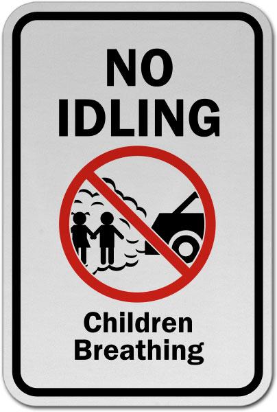 No Idling Children Breathing Sign