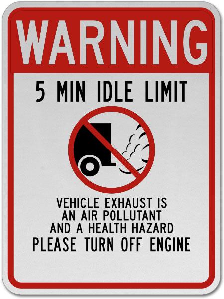 Warning 5 Min Idle Limit Sign