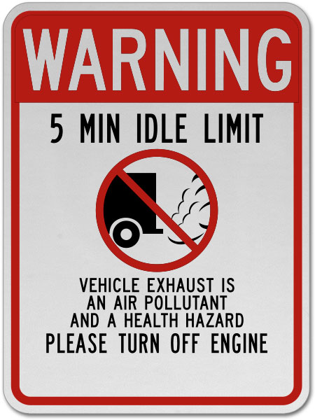 Warning 5 Min Idle Limit Sign