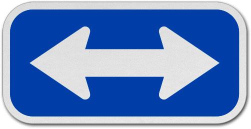 White / Blue Double Arrow Sign