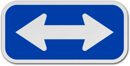 White / Blue Double Arrow Sign