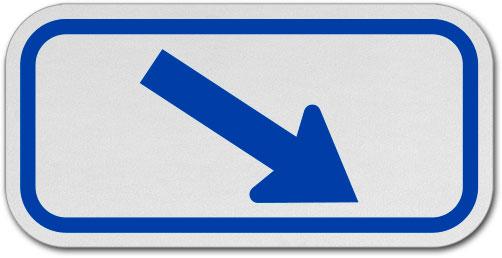 Blue Diagonal Right Arrow Sign