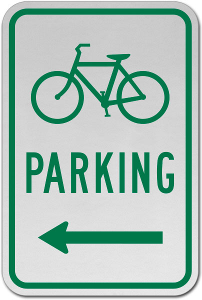 Bicycle Parking (Left Arrow) Sign