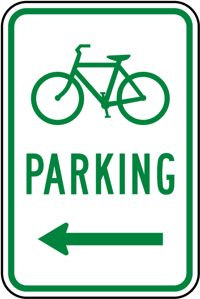 Bicycle Parking Sign with left arrow