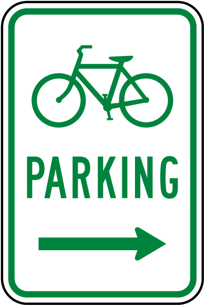 Bicycle Parking (Right Arrow) Sign