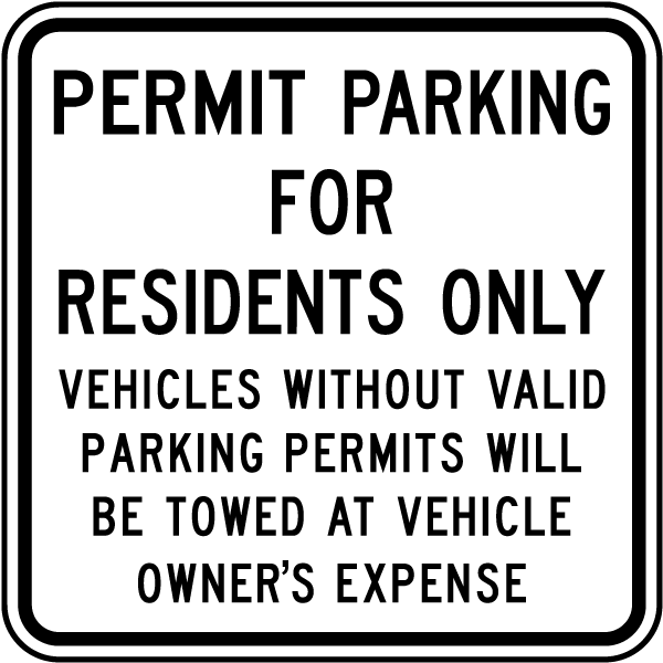 Permit Parking For Residents Only Sign