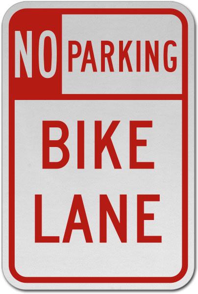 No Parking Bike Lane Sign
