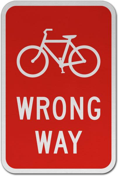 Bicycle Wrong Way Sign