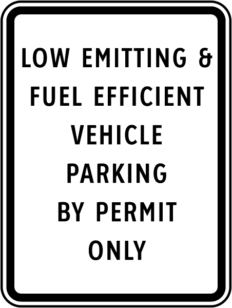 Low Emitting Vehicle Permit Parking Sign