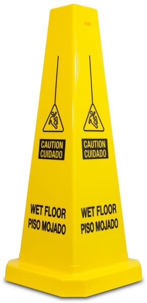 Bilingual Caution Wet Floor Cone